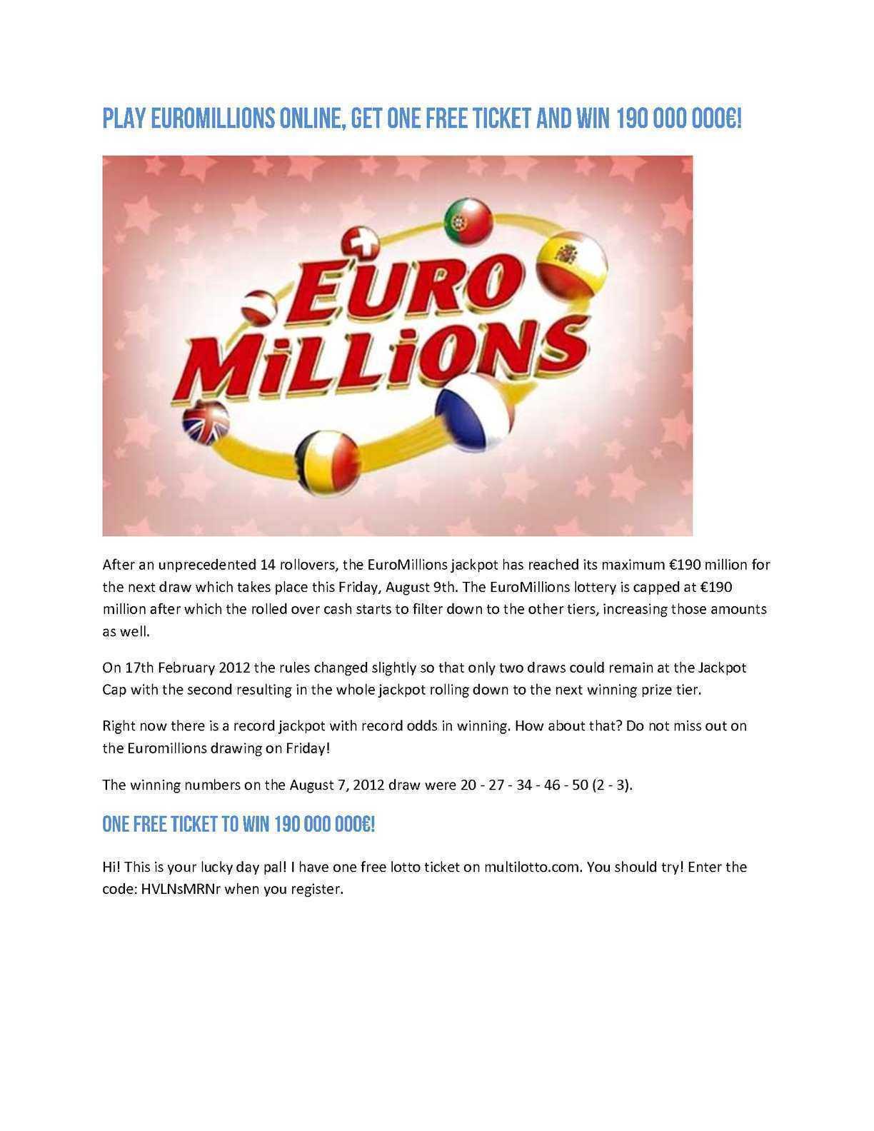 Euromillions raffles