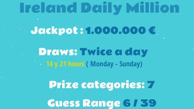 Check ireland - daily million (afternoon) 6/39 results