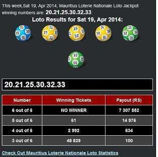 Mauritius lotto past results - database of loto past winning numbers