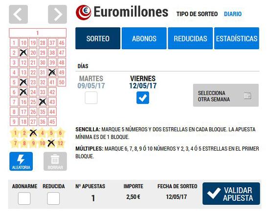 Histórico sorteos euromillones
